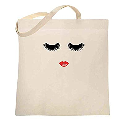 Eyelashes and Red Lips Graphic Retro Makeup Natural 15x15 inches Large Canvas Tote Bag Women