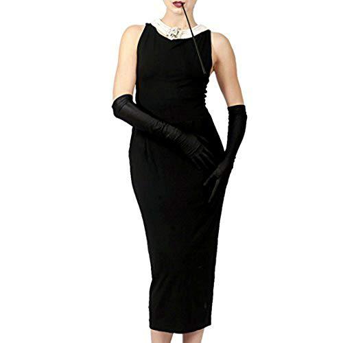 Utopiat icónico Vestido Negro de algodón para Mujer Inspirado en el Estilo Audrey Hepburn (M, sin Caja de Regalo)