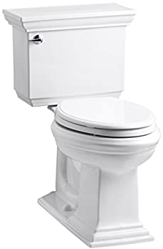 KOHLER K-3817-U-0 Memoirs Stately Comfort Height Two-Piece Elongated 1.28 Gpf Toilet with Aquapiston Flush Technology Insuliner Tank Liner and Left-Hand Trip Lever White