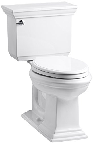 KOHLER K-3817-U-0 Memoirs Stately Comfort Height Two-Piece Elongated 1.28 Gpf Toilet with Aquapiston Flush Technology, Insuliner Tank Liner and Left-Hand Trip Lever, White