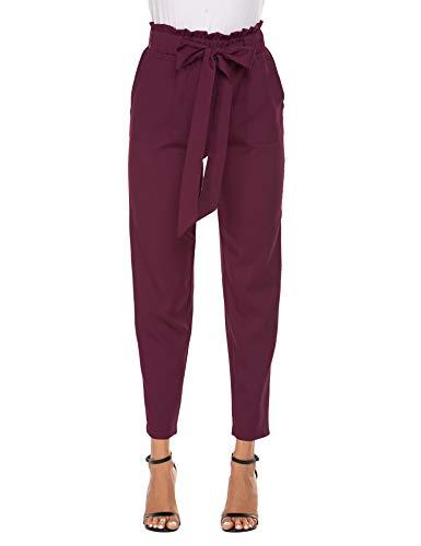 Beyove Damen Hosen Lang Hose Slim Palazzo Taillen Hose Lässige Hose Elastischer Taille Elegant mit Eingrifftaschen (L, Weinrot)