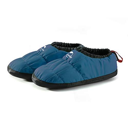 Tentock Unisex Winter Winddichte Slipper-Schuhe Bequem mit Anti-Rutsch-Gummisohle- wasserdichte Warme Fleece-Baumwolle-Hausschuhe für Home Office & Outdoor(dunkelblau, M(38-39))