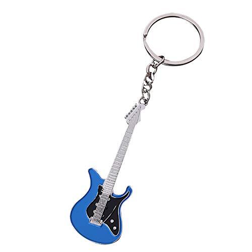 Meigold Unisex Kreative Bassgitarre Schlüsselbund Metall Tropfen Musikinstrument Schlüsselbund Musikinstrument Autotasche Anhänger,1 PCS( Blau)
