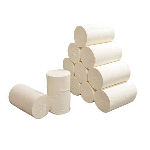 Zarupeng 10 Rollen Toilettenpapier Bambus Zellstoff Rolle-Papier Klopapier WC-Papier Haushaltstoilettenpapier Toilettenpapierrolle ohne hülse Küchenpapier