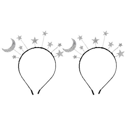 PRETYZOOM Diadema de Estrella de de 2 Piezas Diadema de Estrella Brillante para El Cabello Diadema de Estrella Brillante para La Boda Princesa Cumpleaos Fiesta Tocado