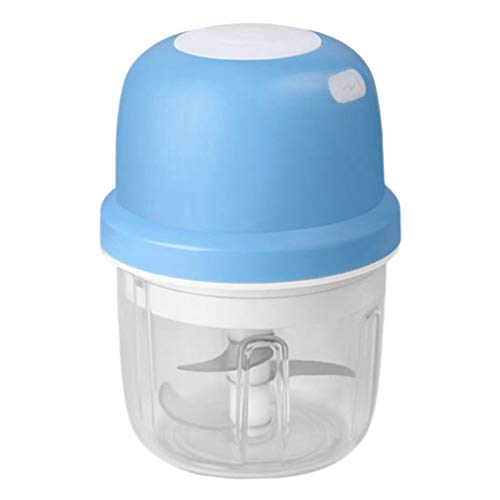 Camisin Chopper, Electric Portable Garlic Masher Machine Baby Food Processor Meat Slicer for Onion Nuts 250ML,Blue