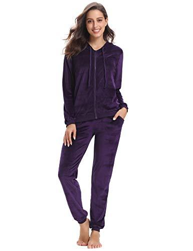 Aibrou Damen Trainingsanzug, Hausanzug Velours Kapuzenpullover und Hose Jogginganzug Sportbekleidung mit Reißverschluss Kordelzug Taschen
