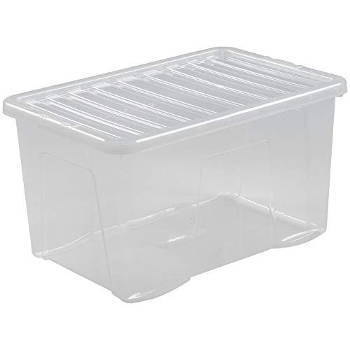 Box mit Deckel transparent lebensmittelecht 60 L Stapelbar 60 x 40 cm Aufbewahrungs Box Stapel Kiste Multifunktions Box Spielzeug Kinder Kiste Kunststoff Behälter Küche Büro Spielzeugkiste