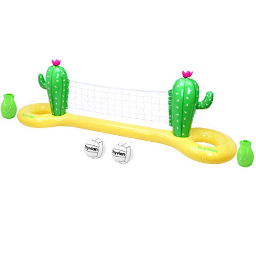 Toyvian Pool-Volleyball-Spielset, Aufblasbares Volleyball-Spielset Schwimmendes Volleyballnetz mit 2 Bällen für das Pool-Volleyballspiel-Sommerfest 300x70x100cm