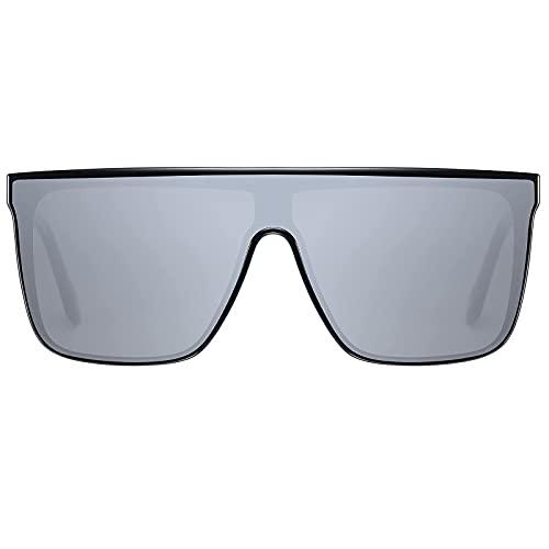 H HELMUT JUST Gafas de Sol Hombre Grande Cuadrado Lente de Nailon TR90 y Acetato Superior Plana Una Pieza