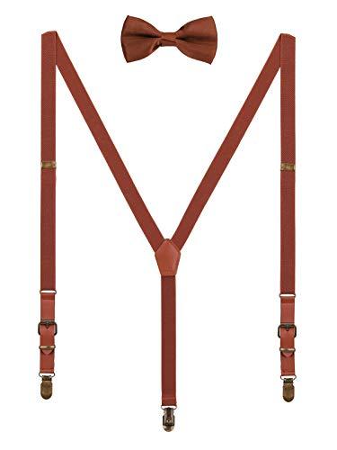 WANYING 2cm Hosenträger Fliege Sets | Retro PU Leder 3 Messingartige Clips Y Form Hosenträger Elastisch Verstellbar für Körpergröße 140-190cm - Braun