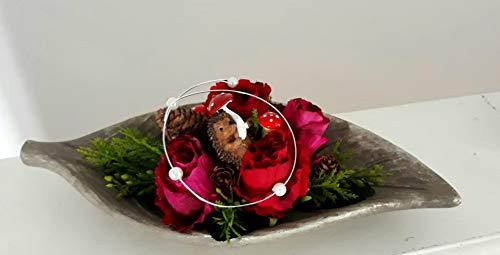 Grabgesteck mit Rosen und Igel Herbst Grabdeko länglich Grabschmuck Gesteck Grab Urnengrab