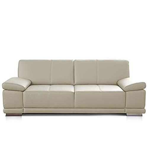 CAVADORE 3-Sitzer Sofa Corianne / Echtledercouch im modernen Design / Mit Armteilverstellung / 217 x 80 x 99 / Echtleder weiß