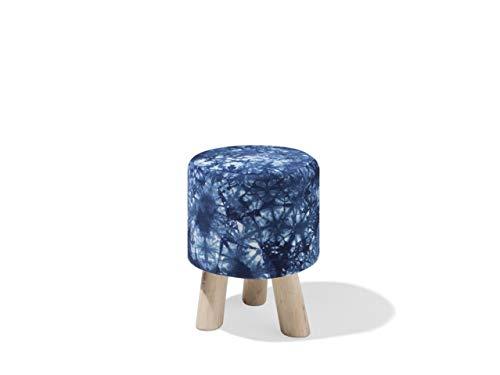 Beliani - Petit Tabouret - Loni - Motif Psychédélic Bleu