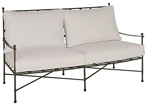 Casa Padrino sofá Art Nouveau de Lujo marrón/Blanco 162 x 87 x A. 102 cm - Sofá de Hierro Forjado Forjado a Mano con Cojines - Sofá de Salón - Sofá de Jardín - Sofá de Patio - Calidad de Lujo
