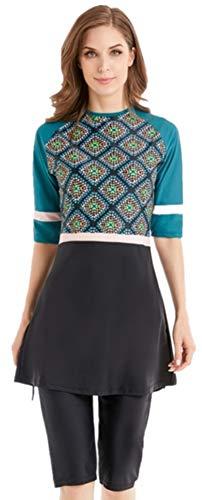ShuoBeiter Modest Bademode Damen Islamischen Bescheidene Rüschen Kurzarm Swimwear (N4, Int'l 3XL)