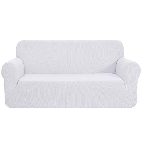 CHUN YI 1-Stück Sofa Überwürfe Sofabezug Jacquard Elastische Stretch Spandex Couchbezug Sofahusse Sofa Abdeckung (Weiß, 3-sitzer)