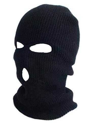 ASD Accesorios Para Invierno 3 Agujeros De Punto SAS Estilo Ejército Sombrero De Esquí Nack Calentador Paintball Pasamontañas Máscara (Negro)