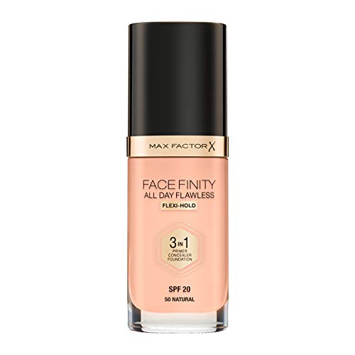 Max Factor Facefinity All Day Flawless 3 in 1 Fondotinta Liquido a Lunga Durata 50 Natural, 30 ml