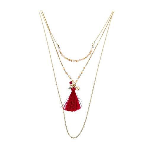 Schmuck-Krone - Juego de 3 collares largos con flecos (cristal), color fucsia y dorado