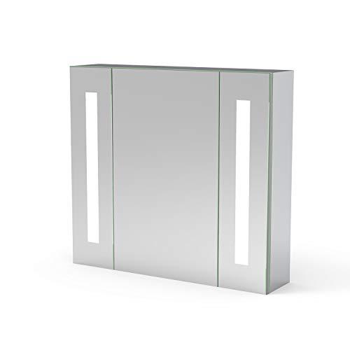 AicaSanitär LED Spiegelschrank 65×60 cm IR-Sensor Schalter, Beschlagfrei, Rasier Steckdose, Aluminium, Kaltweiß, Softclose