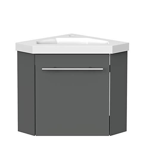 Eckwaschtisch 40 cm Eckschrank Vormontieren Waschbecken mit Unterschrank Waschtisch kleinmöbel Anthrazit