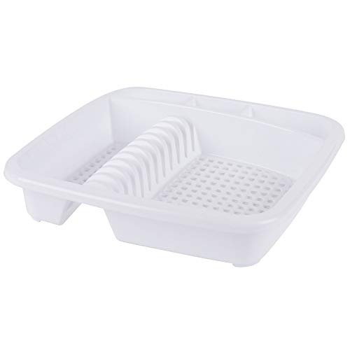 Beldray LA057358WHITEEU Plastic Dish Rack & Drainer Rack | White | Ideal for Cups, Plates, Bowls and Cutlery | Hygienic Drying Results, L W 39CM x H 7.5CM