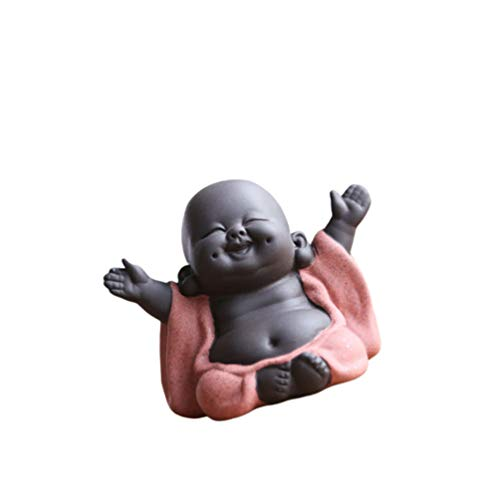 HEALLILY Mini Buddha Figurine Ceramic Baby Monk Tea Pet Miniature Buddha Statue Zen Garden Tea Tray Decoration