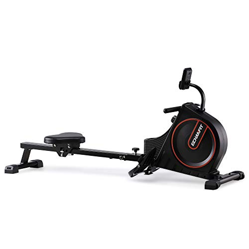 ECHANFIT Rowing Machine Foldable Indoor Rower w/LCD Monitor with 16 Levels Silent Magnetic Belt System and Adjustable Console Angle for Cardio Exercise Workout at Home and Studio
