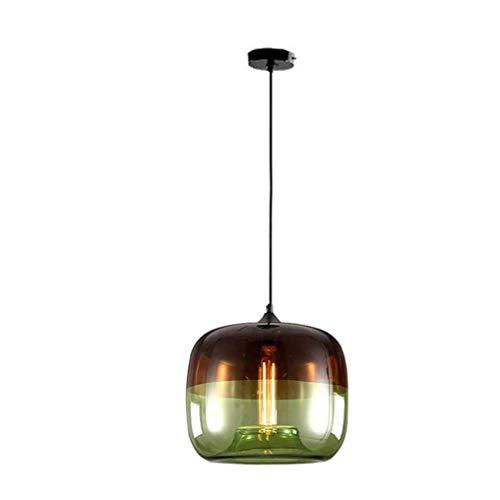 ChangHua1 Diseño Industrial Vintage Lámpara Colgante Pantalla De Vidrio Teñido Lámpara Colgante De Metal Personalidad Simple Decoración Retro Mesa De Comedor Lámpara Colgante Altura Ajustable E27 Máx.