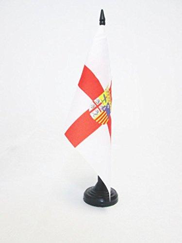 AZ FLAG Bandera de Mesa de la Provincia DE Zaragoza 21x14cm - BANDERINA de DESPACHO Zaragoza ENARAGÓN 14 x 21 cm