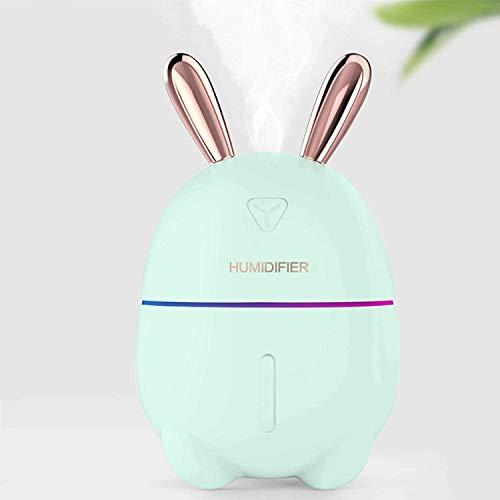 MO-UK Luftbefeuchter, Mini-Luftbefeuchter, USB, geräuscharmer Luftbefeuchter für Schlafzimmer, Baby, Kind, Auto, süßer, persönlicher kleiner Luftbefeuchter (hellgrün)