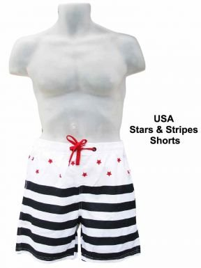 England R.U. USA Stars & Stripes Shorts, unisex