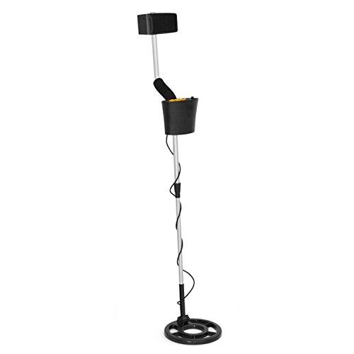 DURAMAXX Detector de Metales (Resistente al Agua 21,5 cm, Altavoz, Ligero, Eje Aluminio Extensible, 4 m produndiad de búsqueda, Pantalla de búsqueda y Nivel batería) - Negro