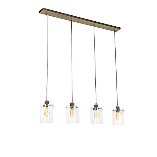 QAZQA Lampada a sospensione dome - Moderno - Acciaio,Vetro - Bronzo/Trasparente - Oblungo Max. 4 x 40
