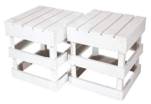 moooble 2er Set Weißer Hocker aus Holz 42cm x 42cm x 45cm Sitzgelegenheit Weiss Obstkisten Stuhl Shabby chic Weinkiste aus dem Alten Land Vintage Gartenmöbel Tisch Natur DIY