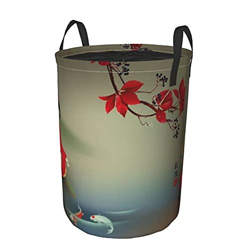 Cesto de lavandería redondo,geisha japonesa,carpas koi de dieta sagrada en la época del otoño,cesto de lavandería plegable impermeable con cordón,21.6'X16.5'