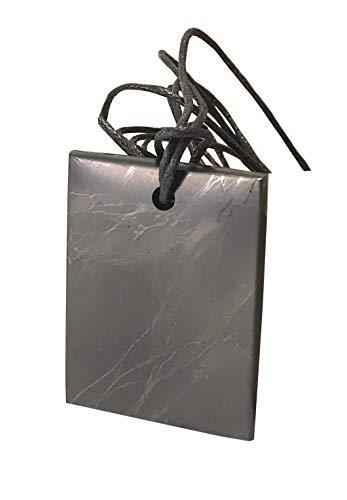 Placa para colgante de shungita, 3 x 2 cm, con cordón de transporte, protección Shunigte Shield, talismán, piedra energética, embalaje ecológico