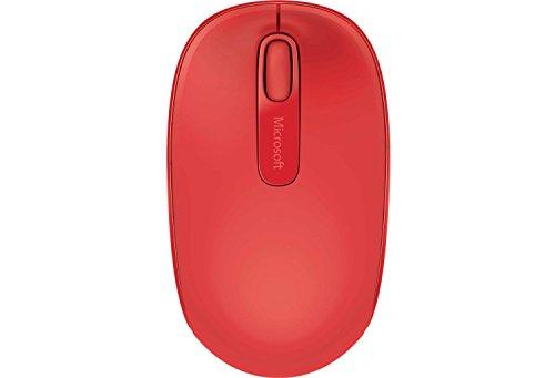 Microsoft Wireless Mobile Mouse 1850 (Maus, rot, kabellos, für Rechts- und Linkshänder geeignet)