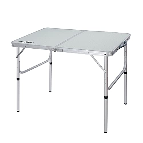 REDCAMP Aluminum Folding Table 3 Foot, Adjustable Height Lightweight Portable Camping Table for Picnic Beach Outdoor Indoor, New White 36 x 24 inch