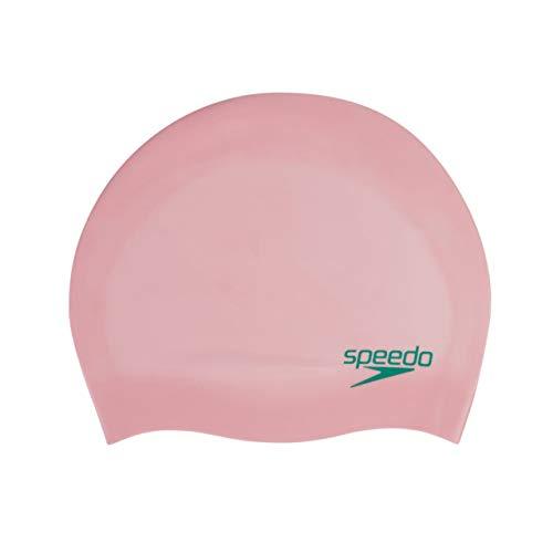 Speedo Gorro Liso Moldeado de Silicona Junior natación, Unisex-Youth, Rosa, One Size