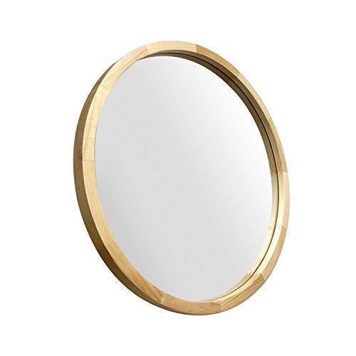JIYUERLTD Specchi Rotondo 60cm Specchi da Parete Decorativi Specchi Morden con Cornice in Legno per salotti di Ingresso del Bagno e Altro Ancora. (Legno Naturale)
