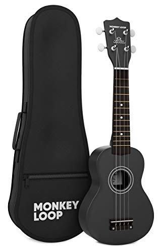 Monkey Loop - Wiedergabe-Serie - Ukelele Sopran - Case inklusive - Farbe: Schwarz - Matt-Finish - Ideal für Anfänger - Tuning öffnen - feste Materialien - High Quality