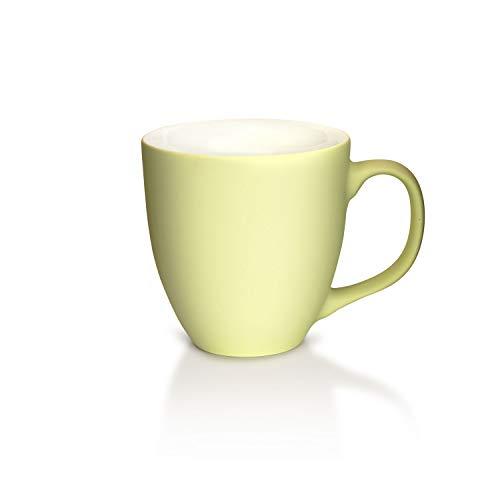 Mahlwerck XXL Jumbotasse, Große Porzellan-Kaffeetasse mit matter Soft-Touch Oberfläche, in Cool-Green, grün, 450ml