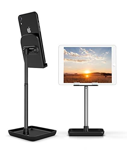 Suporte de telefone celular, suporte de telefone ajustável com ângulo de altura, suporte de metal resistente para mesa Deep Dream, compatível com iPhone/iPad/Kindle/celular/tablet, 4-13 polegadas, Gentleman Black