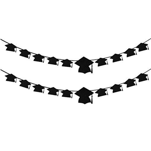 PRETYZOOM 2 Sets Graduation Banner Graduation Cap Shaped Photo Banner Garland for 2020 Graduation Party Decorations