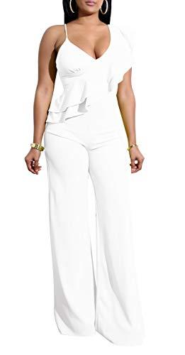 Aro Lora Women's Sexy Deep V Neck Sleeveless Ruffles Elegant Wide Leg Jumpsuit Romper Party Clubwear Medium White