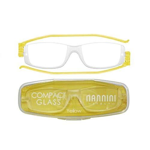 老眼鏡 コンパクトグラス2 nannini リーディンググラス 男性用 女性用 メンズ レディース シニアグラス 全12色(+3.00,イエロー)