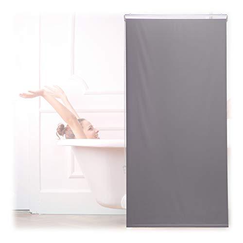 Relaxdays Duschrollo, 80x240 cm, Seilzugrollo für Dusche & Badewanne, Decke & Fenster, Badrollo wasserabweisend, grau, 10034185_1051