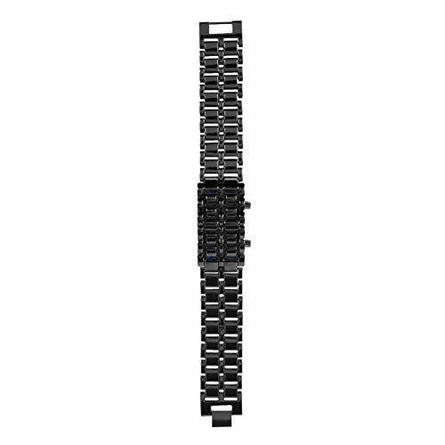 Reloj de pulsera de acero Reloj de pulsera LED resistente Reloj de pulsera Reloj de pulsera electrónico(Black Belt Blu-ray)